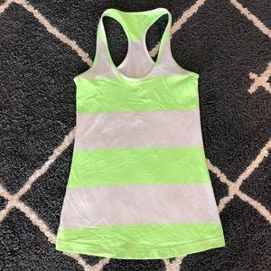 Neon green and white lulu lemon tank top